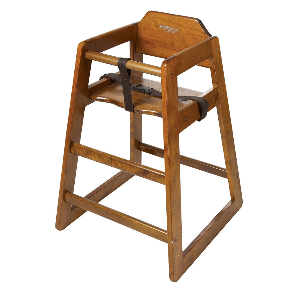 GET HC-100W-KD Stackable Hardwood High Chair with Walnut Finish - Unassembled