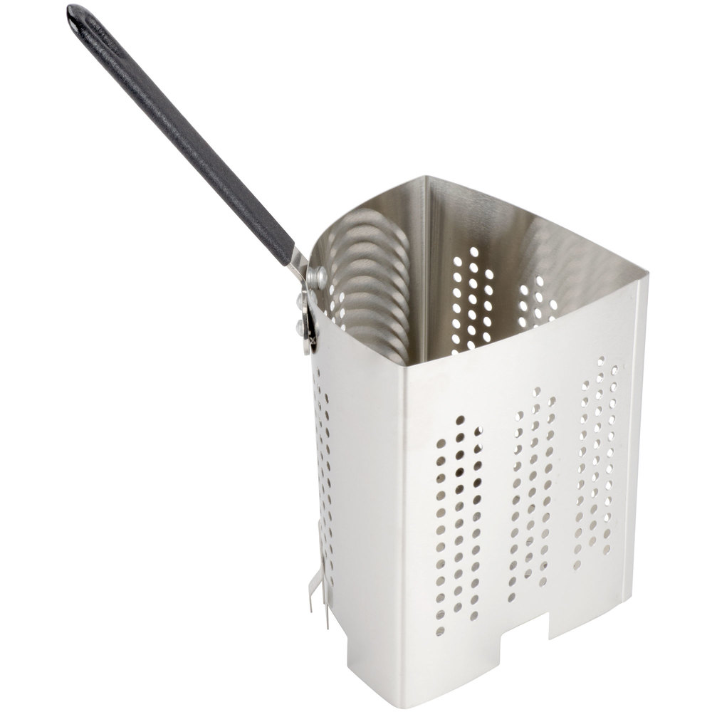 This stainless steel wedge shaped pasta basket inset is ideal for