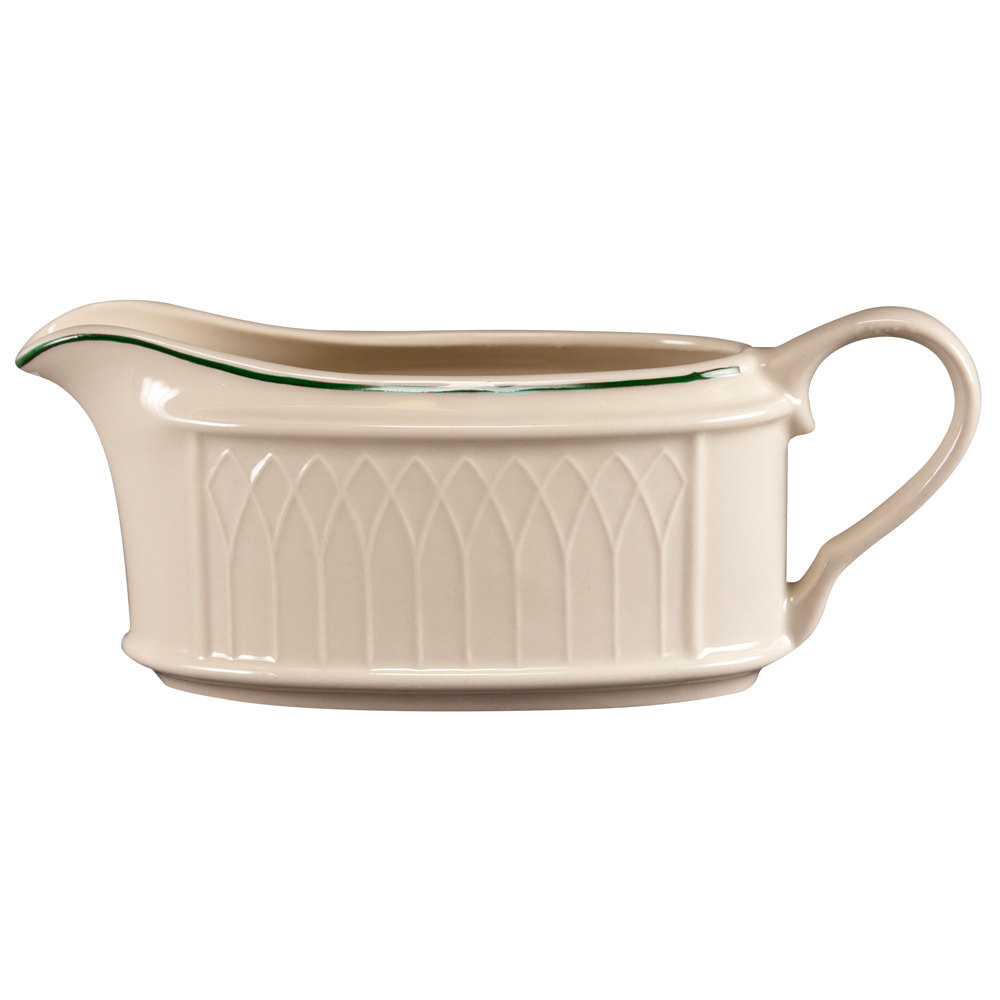 Homer Laughlin 1430-0319 Green Jade Gothic Off White 11.75 oz. Sauce Boat - 12/Case