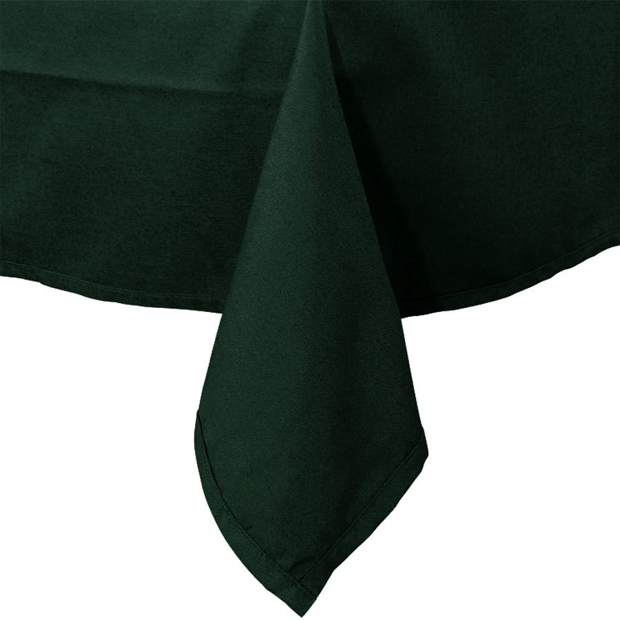 "64"" x 120"" Forest Green Hemmed Polyspun Cloth Table Cover"