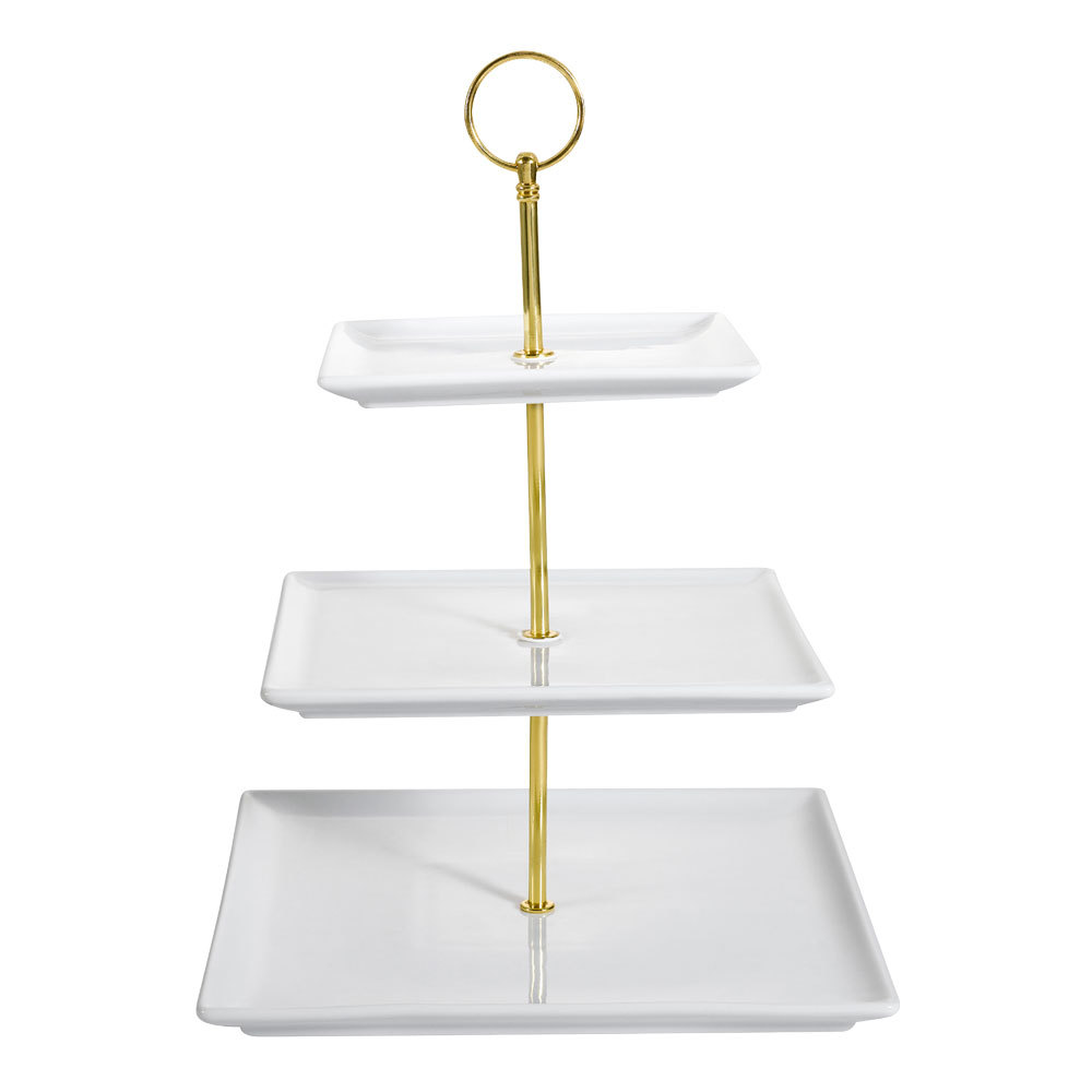 CAC PTE-SQ3 Bright White Catering Collection Square 3-Tier Porcelain Tray Display Stand - 8/Case