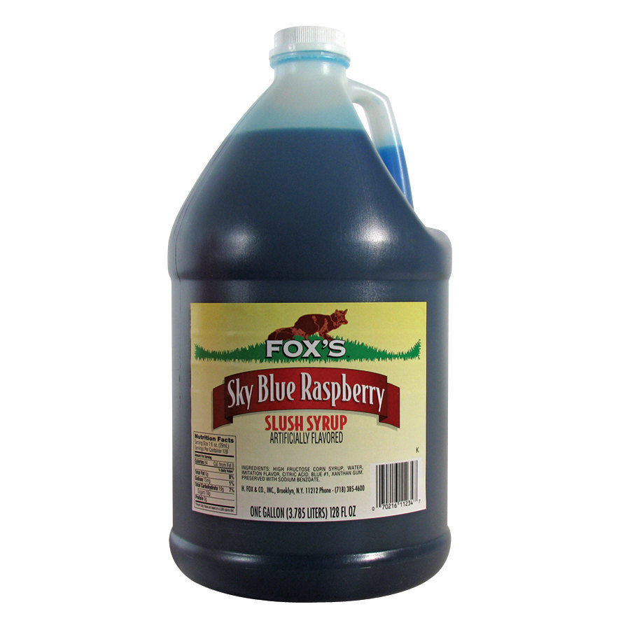 Fox's Blue Raspberry Slush Syrup 4 - 1 Gallon Containers / Case