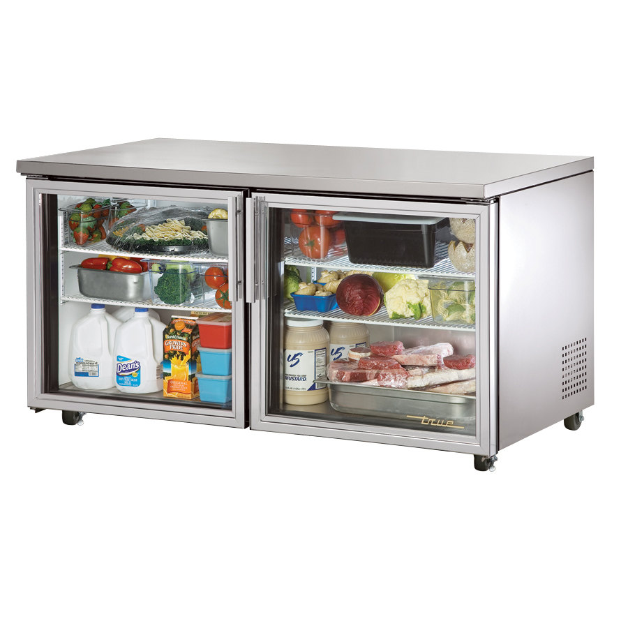 True TUC-60G-ADA 60 inch Glass Door Deep ADA Compliant Undercounter Refrigerator