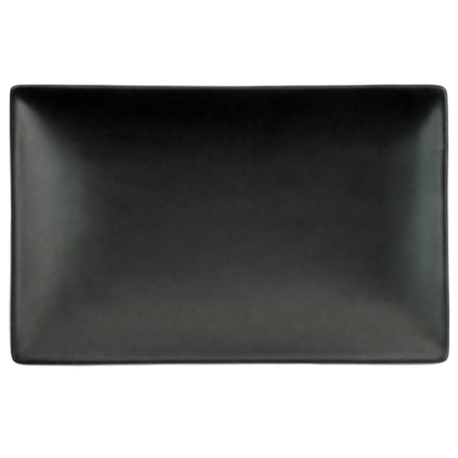 "CAC 666-33-BK Japanese Style 5"" x 3 1/2"" Rectangular China Plate - Solid Black Non-Glare Glaze - 36/Case"