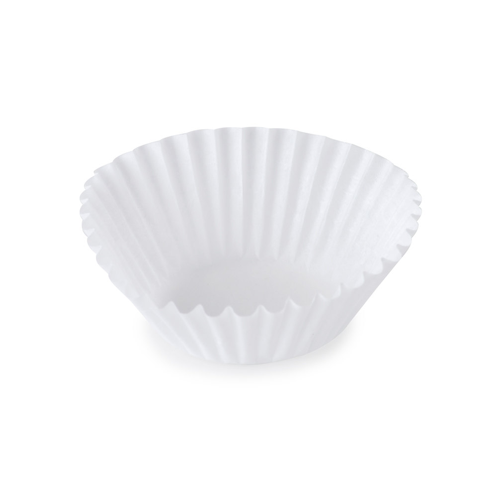 "White Fluted Baking Cup 1 3/8"" x 15/16"" - 1000 / Pack"