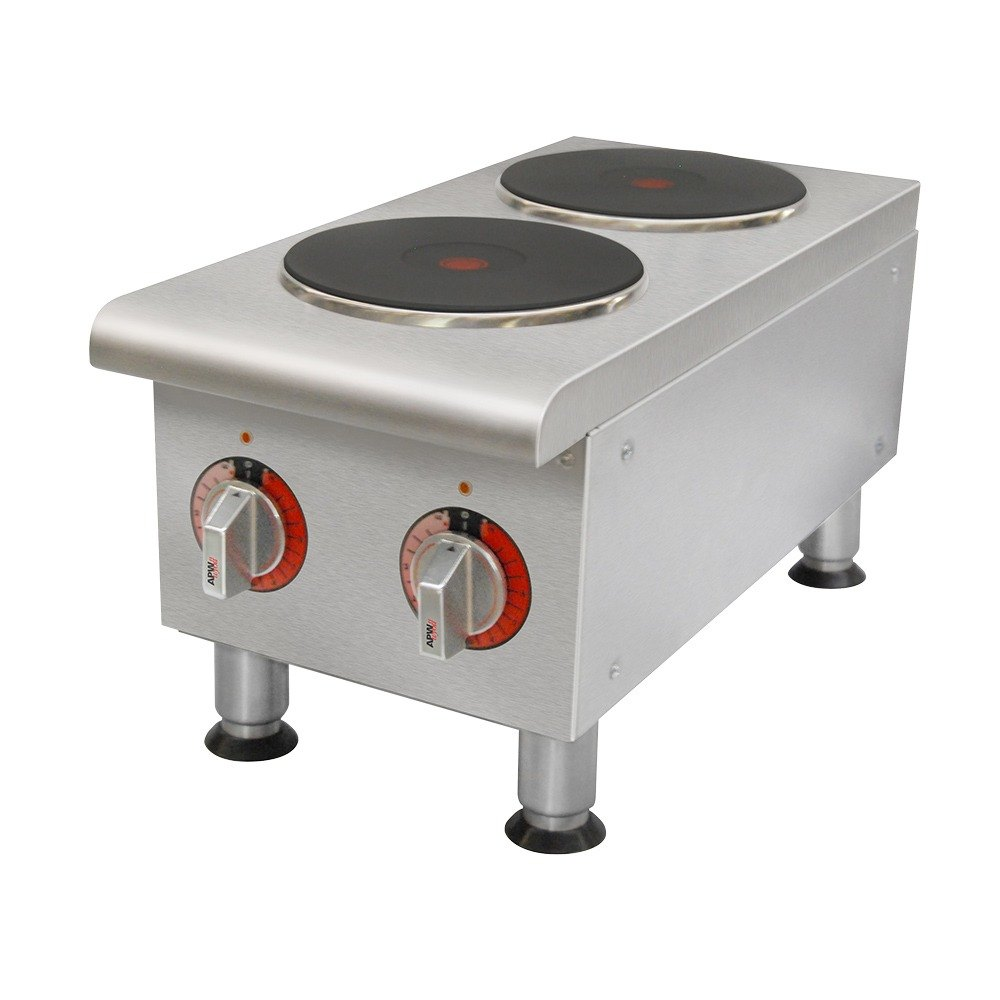 240 Volts APW Wyott SEHPi Dual Solid Burner Countertop Electric Range
