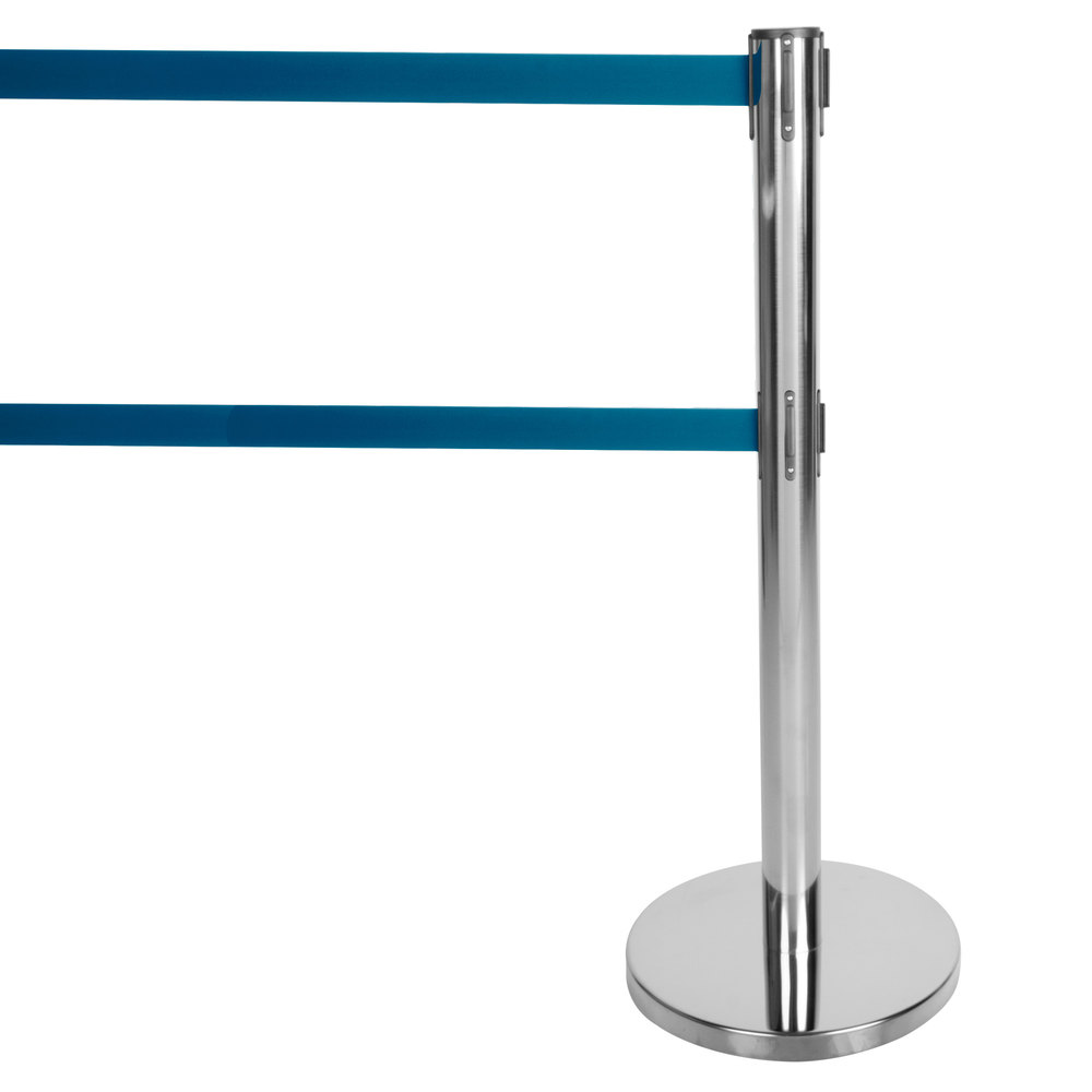 "Aarco Chrome 40"" Crowd Control / Guidance Stanchion with Dual 84"" Blue Retractable Belts"