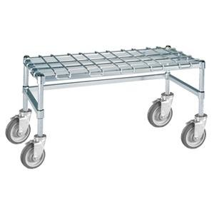 "Metro MHP35S Stainless Steel Heavy Duty Mobile Dunnage Rack with Wire Mat 48"" x 18"" x 14"""