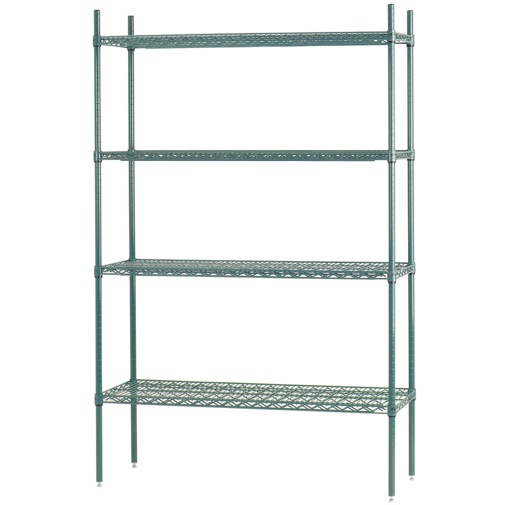 "Advance Tabco EGG-1836 18"" x 36"" x 74"" NSF Green Epoxy Coated Wire Shelving Combo"