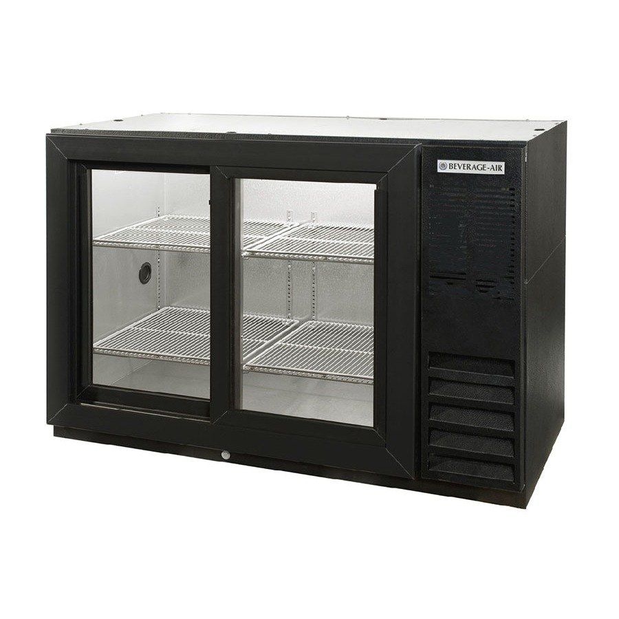 Beverage Air (Bev Air) BB48GSY-1-B 48 inch Black Back Bar Refrigerator with 2 Sliding Glass Doors - 115V