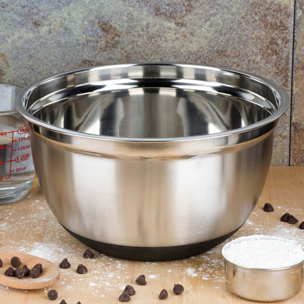 5 Qt. Heavyweight Stainless Steel Mixing Bowl With Bottom Grip/Non-Slip Base