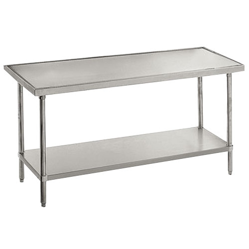 "Advance Tabco VSS-487 48"" x 84"" 14 Gauge Stainless Steel Work Table with Stainless Steel Undershelf"