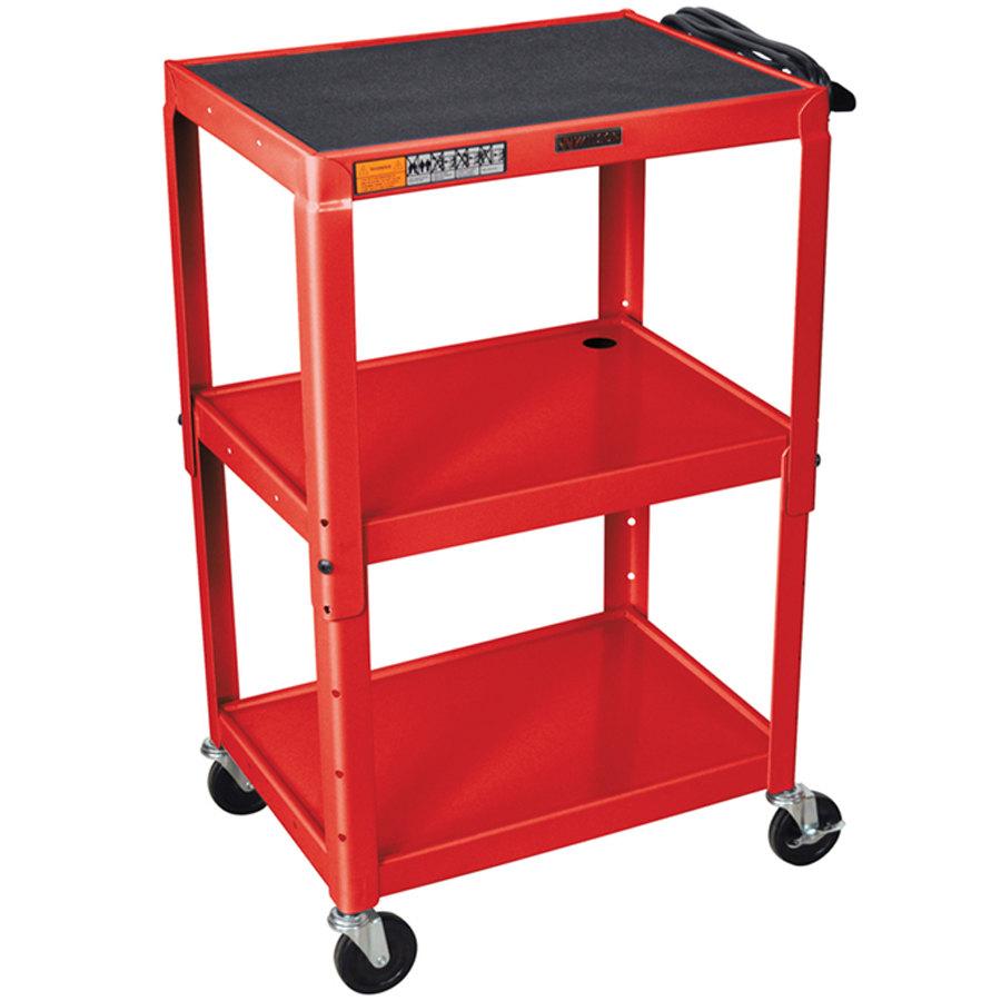 ... Red Metal 3 Shelf A/V Utility Cart 18