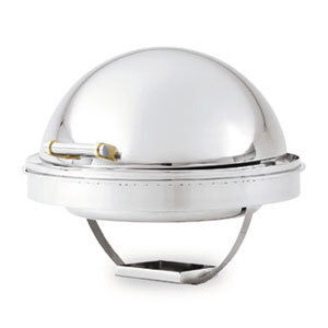 Vollrath 46268 6 Qt. New York, New York Drop-In Round Retractable Dripless Chafer with Brass Trim