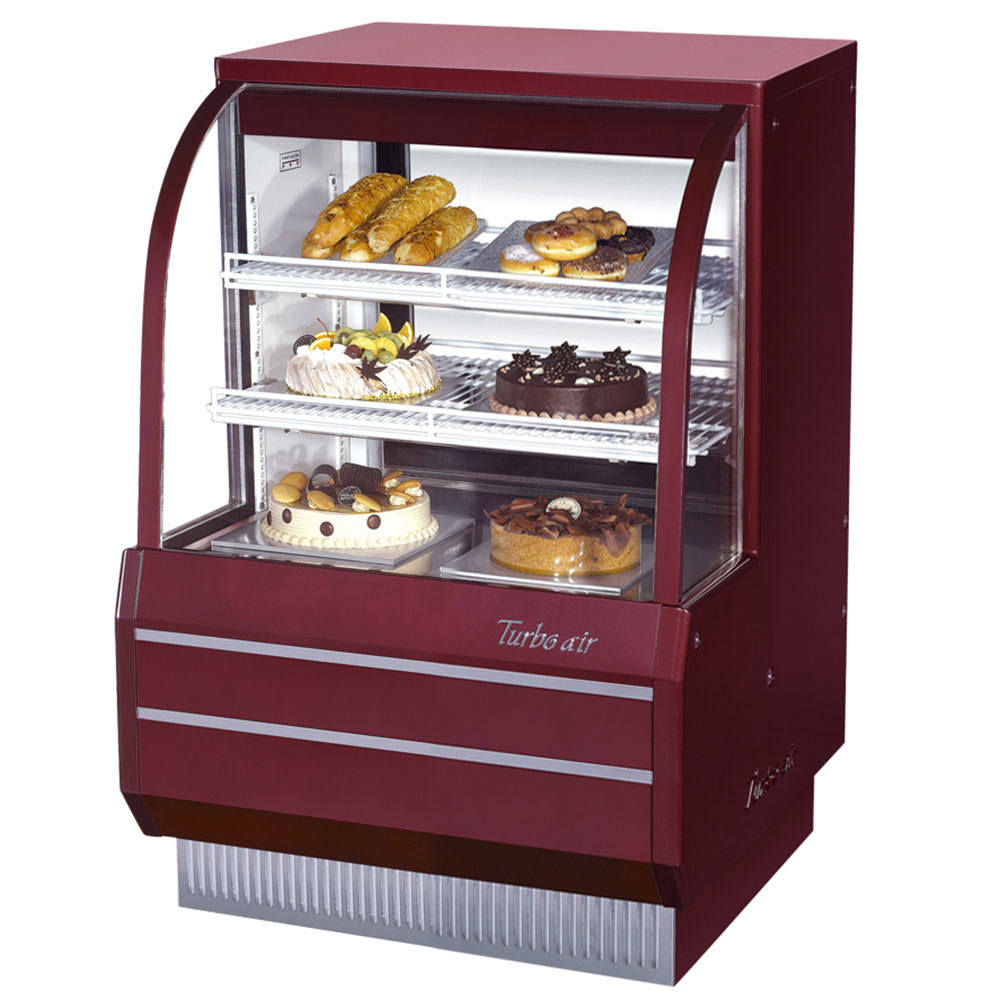 "Turbo Air TCGB-36-DR Red 36 1/2"" Curved Glass Dry Bakery Display Case - 10.9 Cu. Ft."