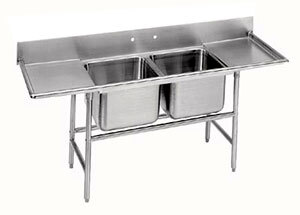 "Advance Tabco 93-82-40-36RL Regaline Two Compartment Stainless Steel Sink with Two Drainboards - 117"" at Sears.com"