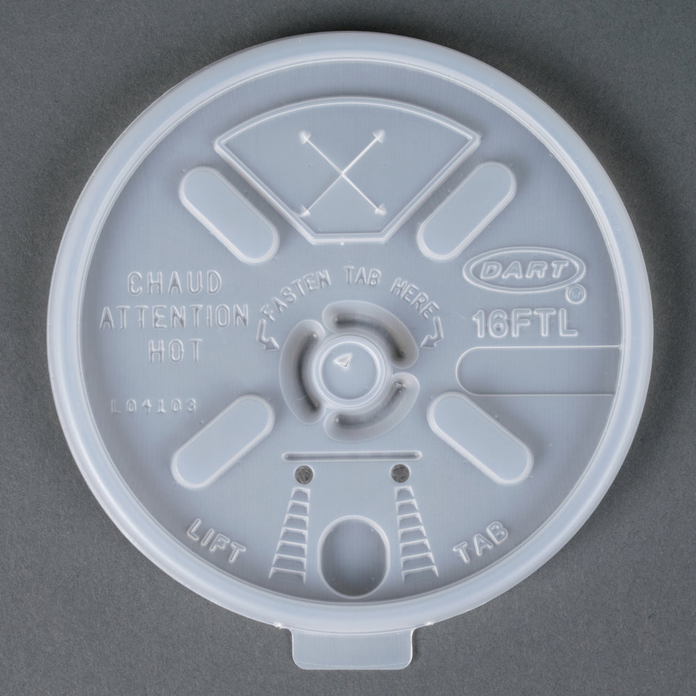 Dart Solo 16FTLS Translucent Lift'n'Lock Lid With Straw Slot - 100/Pack