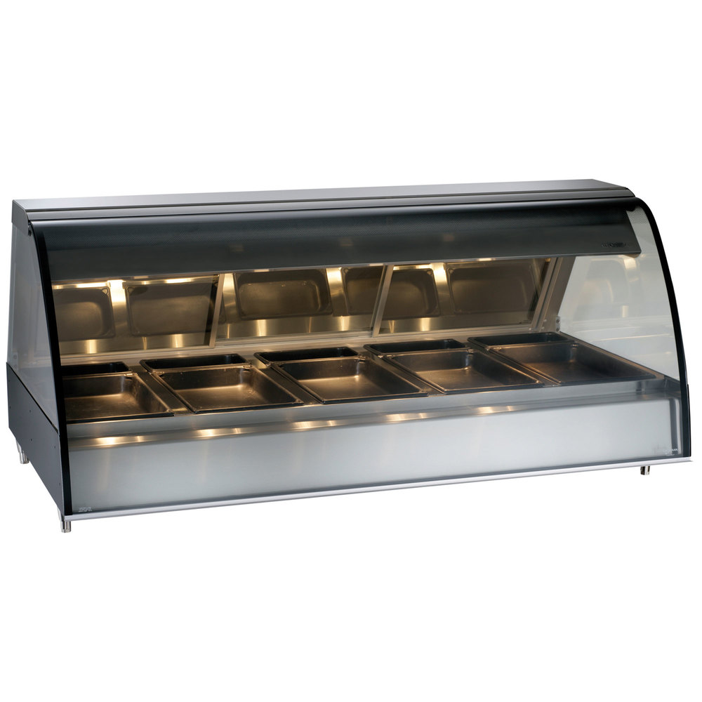 Alto-Shaam TY2-72/PRB BK Black Countertop Heated Display Case with Curved Glass - Right Self Service 72""