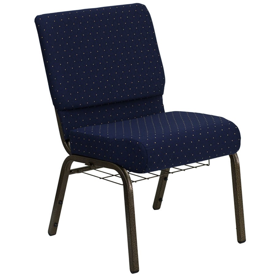 "Navy Blue Dot Patterned 21"" Extra Wide Church Chair with Communion Cup Book Rack - Gold Vein Frame"