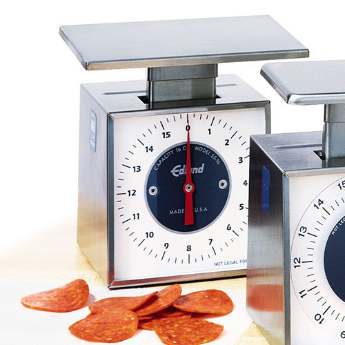 Edlund SS-16O Compact Stainless Steel 16 oz. Mechanical Portion Control Scale with Oversize Platform
