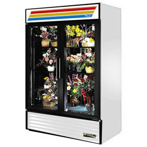 True GDM-47FC White Two Door Glass Floral Case - 47 Cu. Ft.