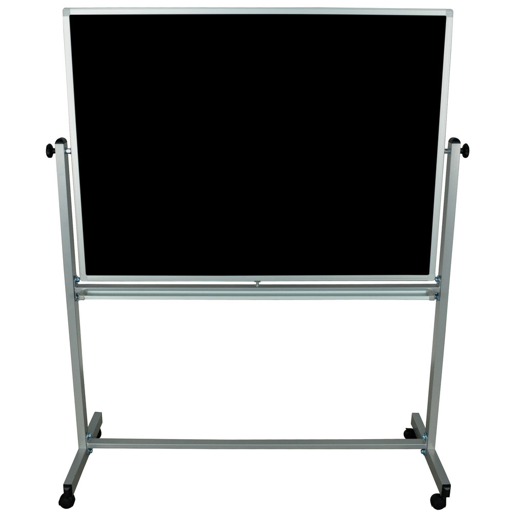 "Luxor / H. Wilson MB4836 48"" x 36"" Double-Sided Whiteboard / Chalkboard with Aluminum Frame and Stand"