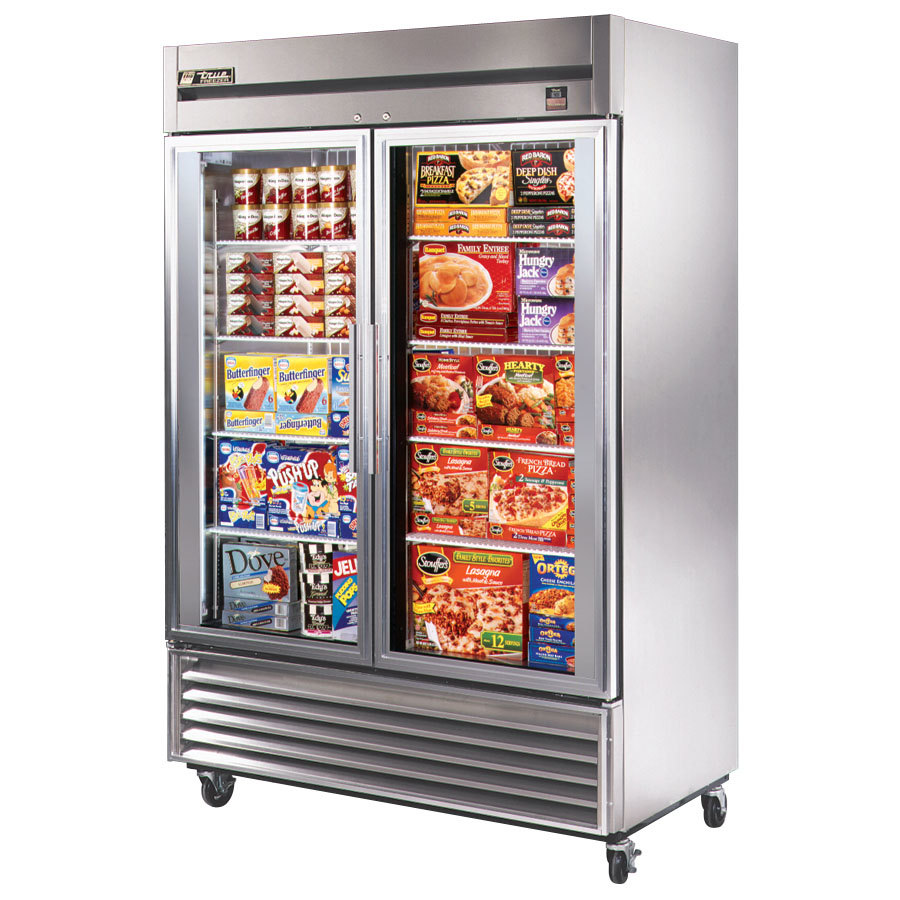 True TS-49FG 54 inch Stainless Steel Two Section Glass Door Reach In Freezer - 49 Cu. Ft.