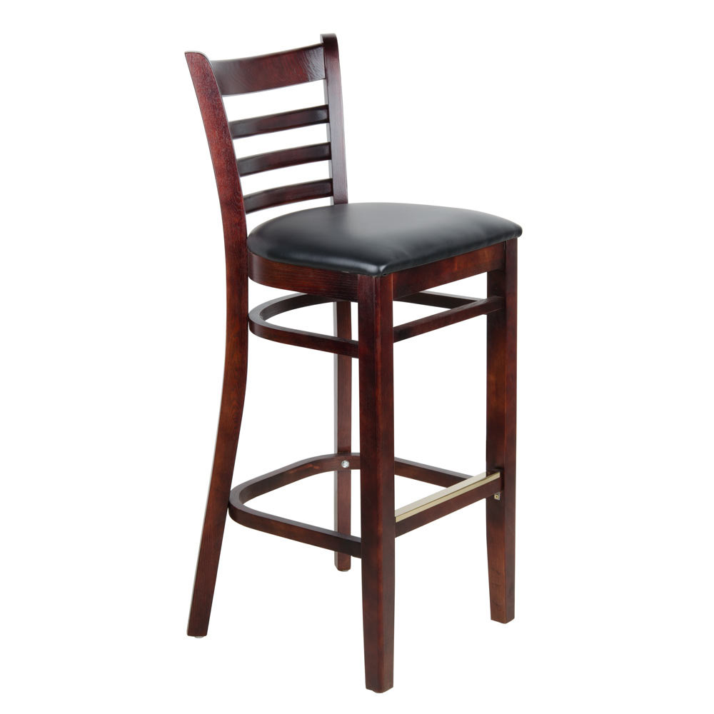 Lancaster Table Seating Mahogany Ladder Back Bar Height Chair With Black Padded Seat