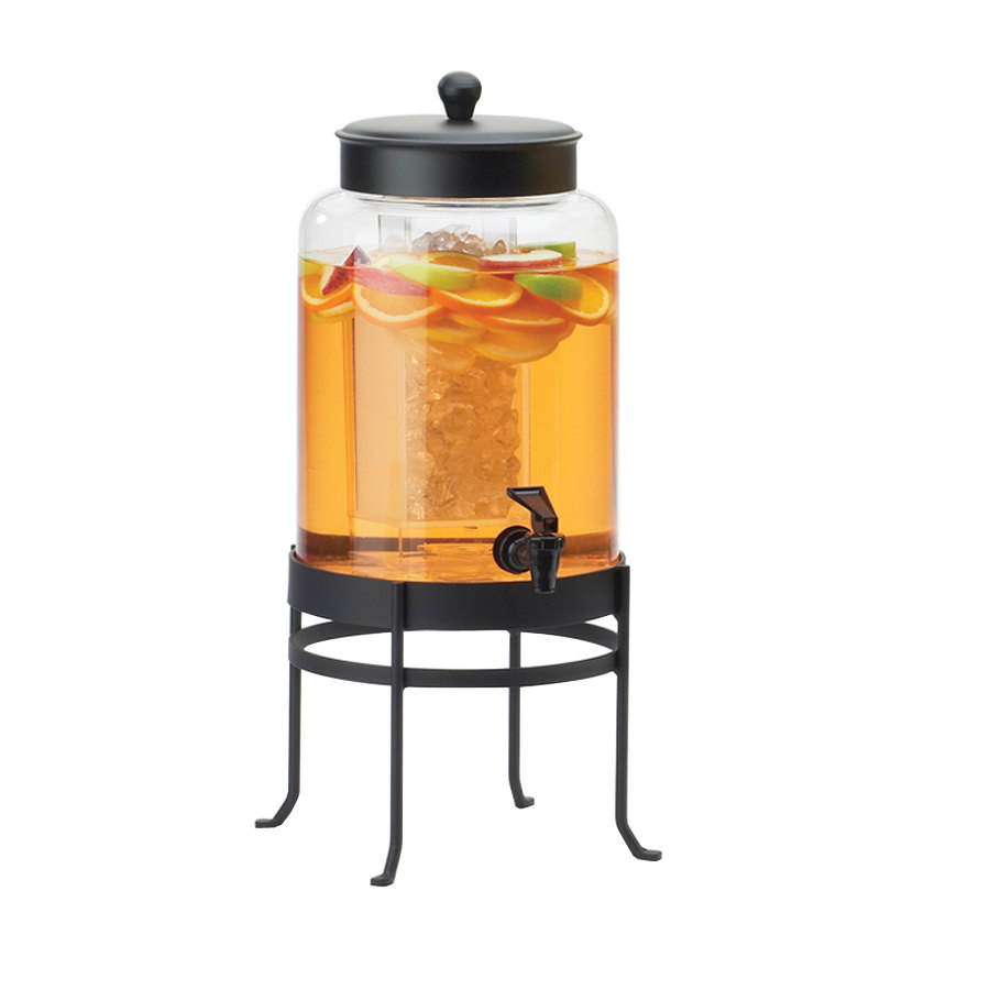 Cal Mil 1580-2-13 2 Gallon Black Soho Glass Beverage Dispenser with Ice Chamber - 10 inch x 12 inch x 20 1/2 inch