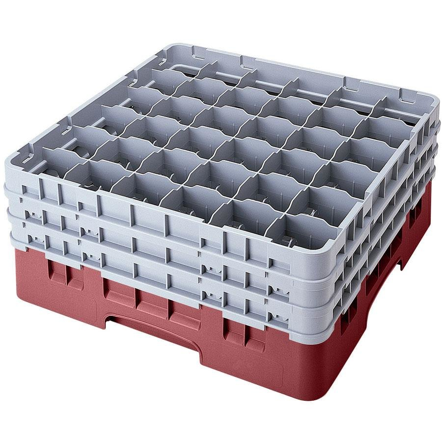 "Cambro 36S638163 Red Camrack 36 Compartment 6 7/8"" Glass Rack"