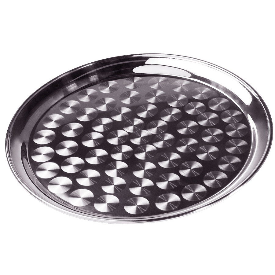 "16"" Stainless Steel Serving / Display Tray with Swirl Pattern - Narrow Rim"