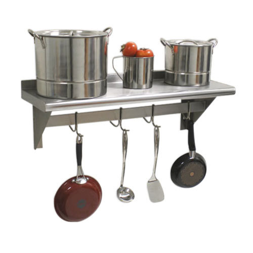 "Advance Tabco PS-12-120 Stainless Steel Wall Shelf with Pot Rack - 12"" x 120"""