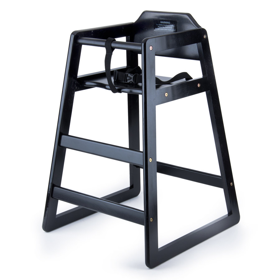 Black Stacking Restaurant Wood High Chair - Unassembled