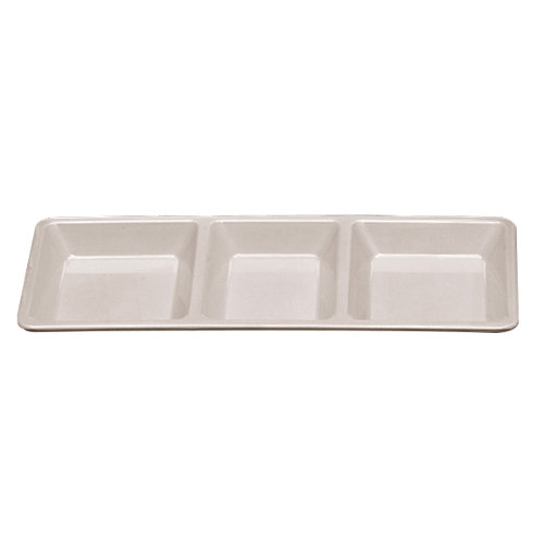 Passion White Melamine Rectangular 3 Section Compartment Tray - 6/Pack