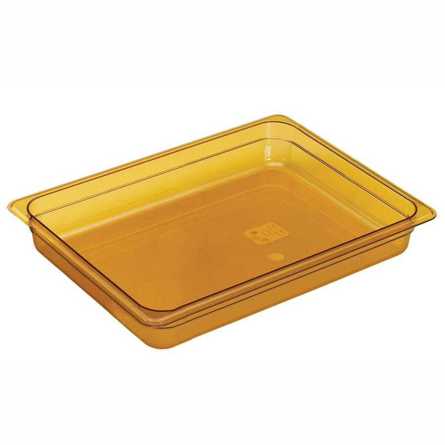 Cambro 22HP150 Amber H-Pans 2 1/2 inch Deep 1/2 Size High Heat Food Pan