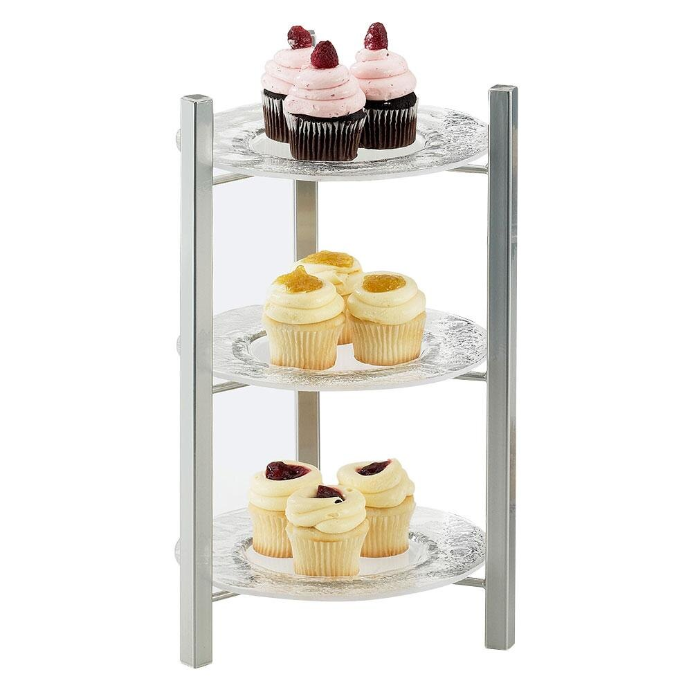 Cal Mil 1136-8-74 Silver One By One 3-Tiered Plate Display Frame - 9 inch x 9 inch x 17 1/2 inch