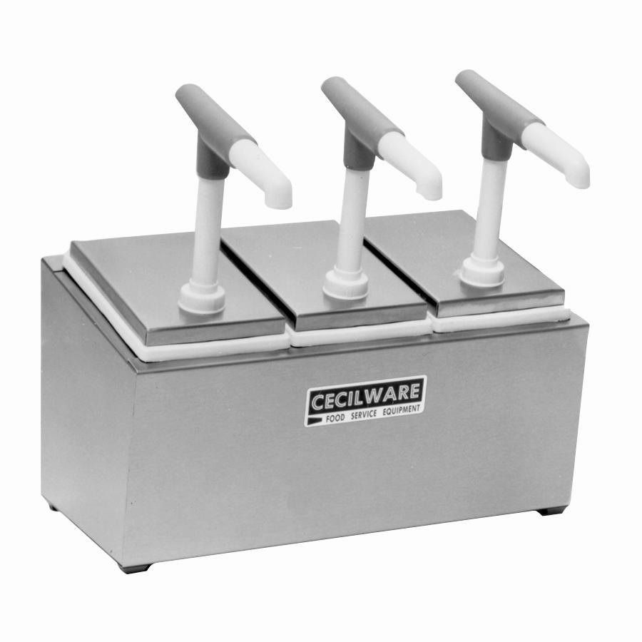 Cecilware 344G Giant Pumps Stainless Steel Condiment Rail with Three Plastic Pumps, Jars, and Covers
