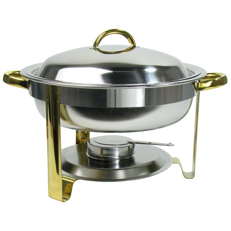 Deluxe Round 4 qt. Gold Accent Chafer with Water Pan and Inset