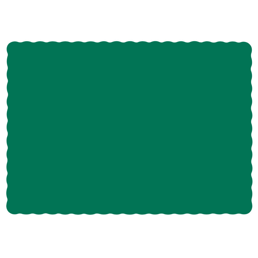 "Hoffmaster 310528 10"" x 14"" Hunter Green Colored Paper Placemat with Scalloped Edge - 1000/Case"