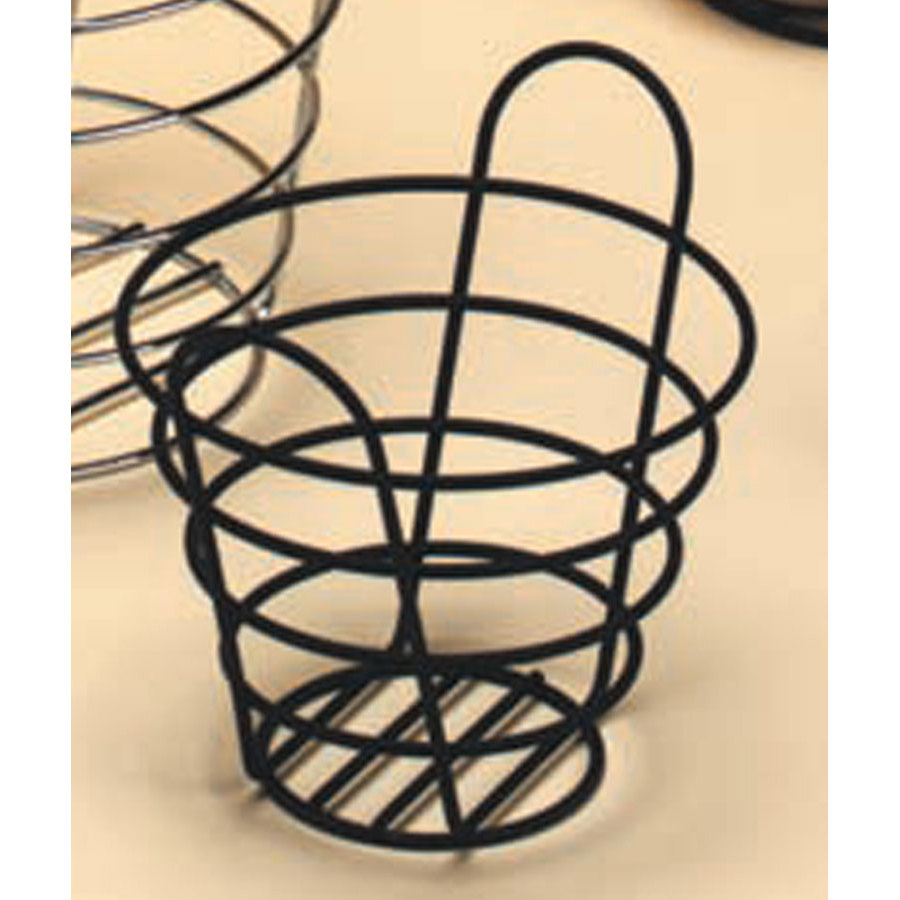 "American Metalcraft BWB965 Round Black Wire Basket with Handles - 9"" x 6 1/2"""