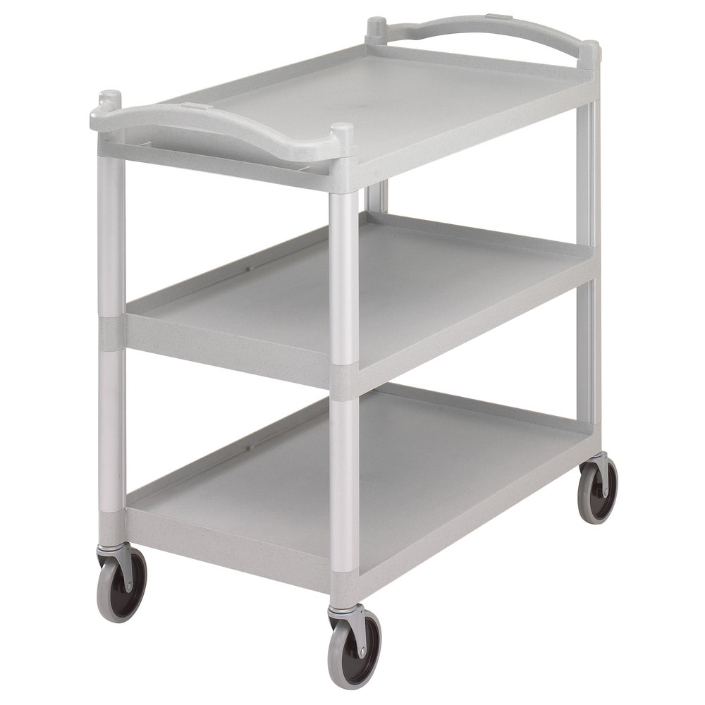 "Cambro BC340KD480 Speckled Gray Three Shelf Utility Cart (Unassembled) - 40"" x 21 1/4"" x 37 1/2"""