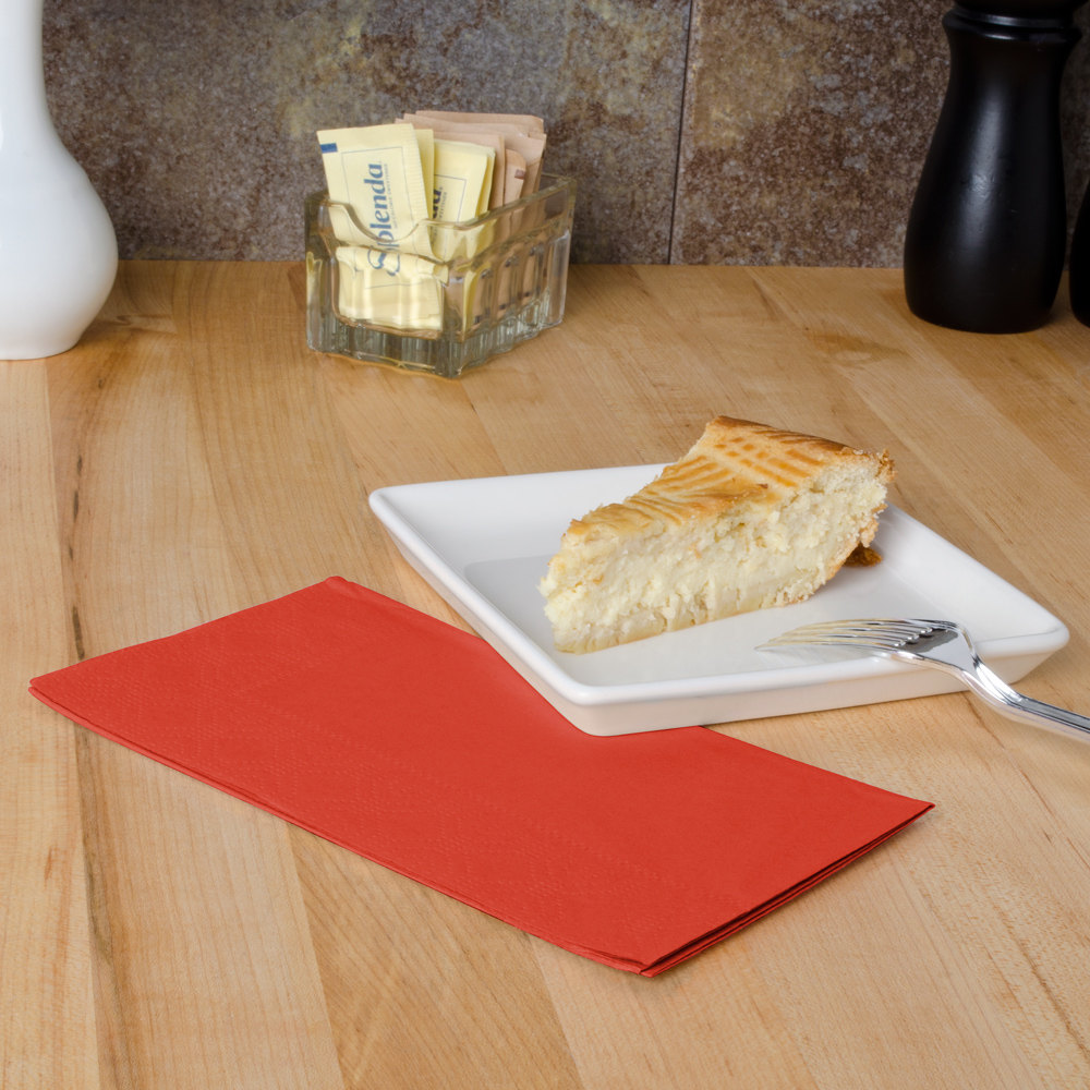 "Bittersweet Orange Paper Dinner Napkins, 2-Ply, 15"" x 17"" - Hoffmaster 180508 - 125/Pack"