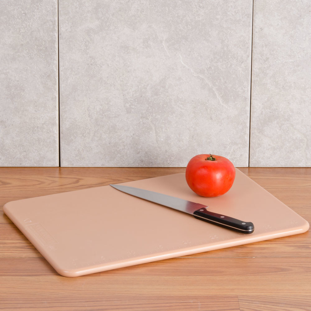 "San Jamar CB121812BR Brown 12"" x 18"" x 1/2"" Cut-N-Carry Cutting Board with Hook"