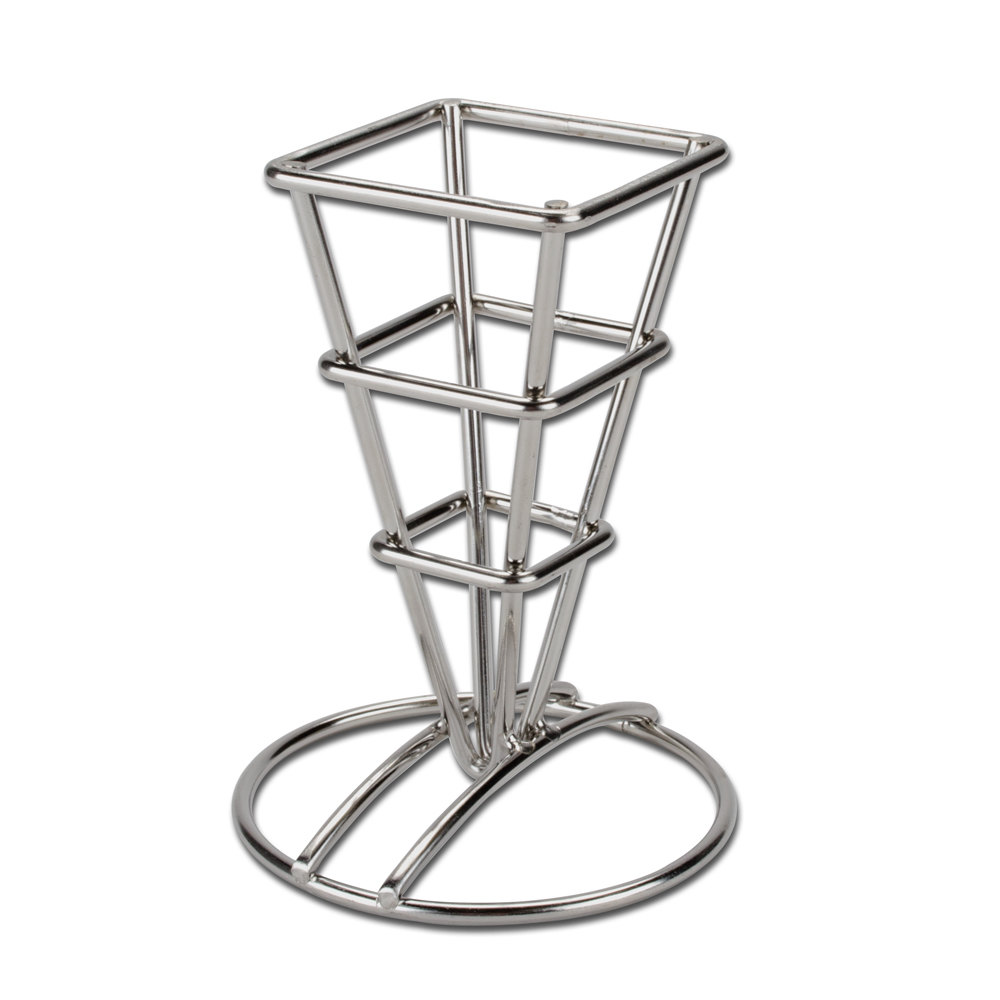Square stainless steel fry cone holder 2 1 2 quot x 3 5 8 quot x 5 1 4