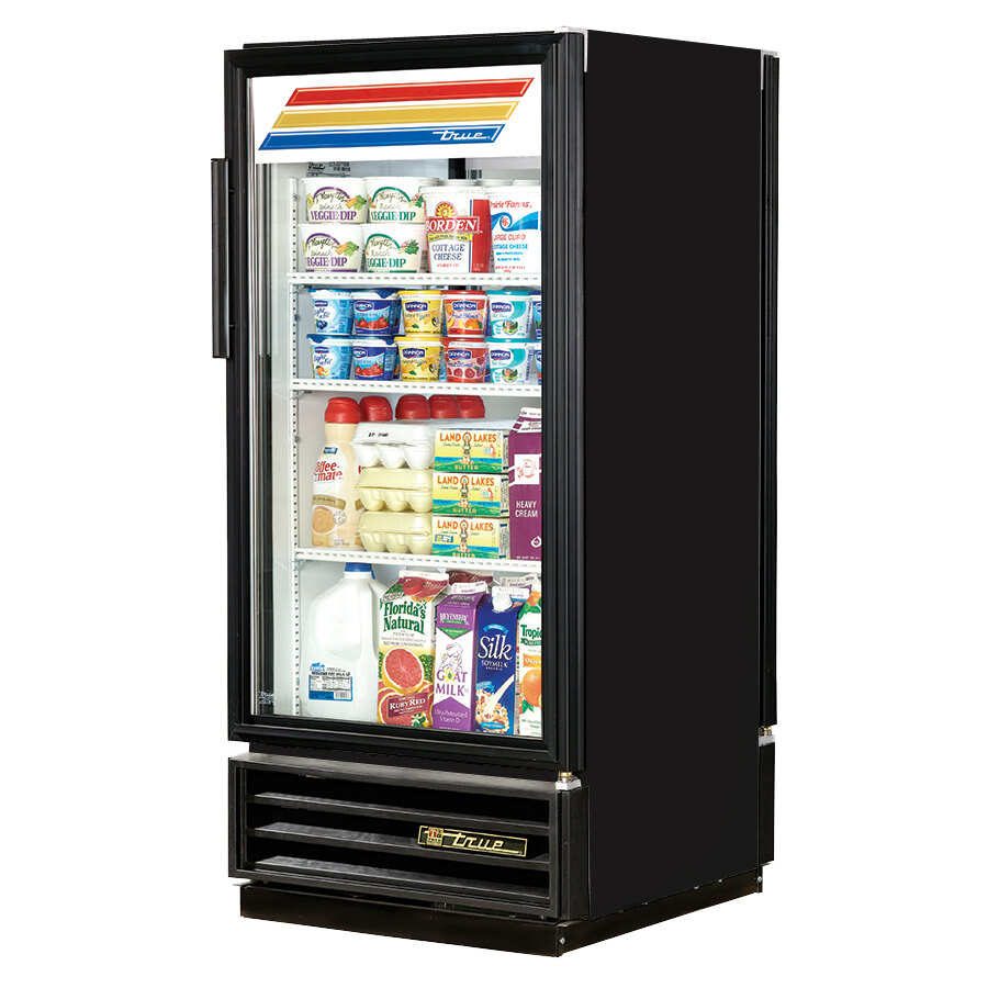 True GDM-10PT Black Pass Through Glass Door Merchandiser - 10 Cu. Ft.