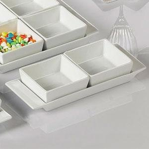 "CAC F-2S Fortune 8 3/4"" x 3 1/2"" Rectangular China Tasting Tray with Handles - White - 24/Case"