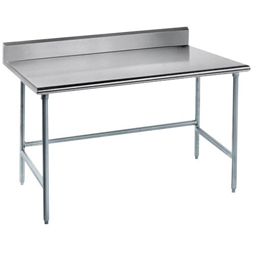 "Advance Tabco TKMG-244 24"" x 48"" 16 Gauge Open Base Stainless Steel Commercial Work Table with 5"" Backsplash"