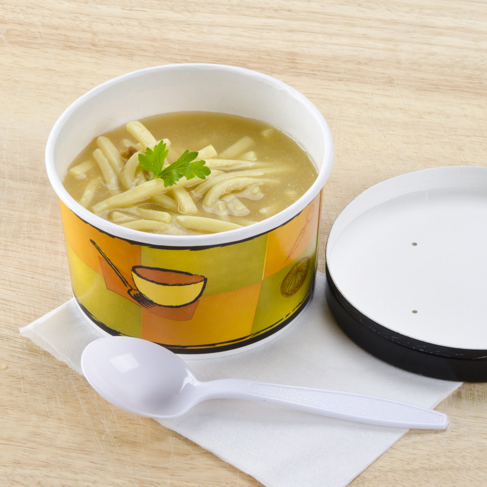 Huhtamaki Chinet 71850 12 oz. Double-Wall Poly Paper Soup / Hot Food Cup with Vented Paper Lid and Streetside Design - 250 / Case