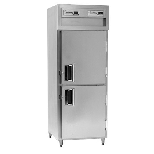 Delfield SSRPT1S-SH Stainless Steel 18.25 Cu. Ft. One Section Solid Half Door Shallow Pass-Through Refrigerator - Specification Line