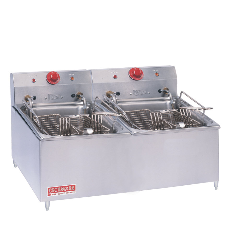 Grindmaster Cecilware 208 Volts Cecilware ELT-500 Double Stainless Steel Commercial Countertop Electric Deep Fryer with 30 lb. Fry Tank - 8400/11000W at Sears.com